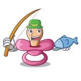钓鱼新生儿的动画片安慰者 库存例证