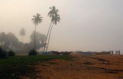 钓鱼有雾的lanka早晨sri村庄 免版税库存照片