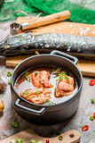 钓鱼汤由新鲜蔬菜和三文鱼做成 库存图片