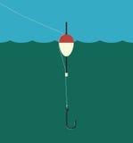 钓鱼浮游物, lilne,勾子 皇族释放例证