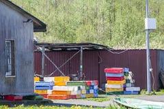 钓鱼海港在Izbica村庄  图库摄影