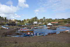 钓鱼海港,安加罗阿,复活节岛,智利 免版税库存照片
