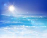 钓鱼海运海鸥天空的小船腾飞日出 库存例证