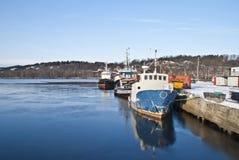 钓鱼猛拉的4条小船 免版税图库摄影