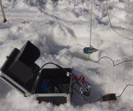 钓鱼的发声器在冬天 库存照片