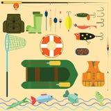 钓鱼的平的集合 免版税库存照片
