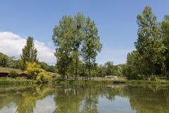 钓鱼的湖,在水的一个爱好夏天 免版税图库摄影