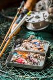 钓鱼的老设备与渔飞行和标尺 库存图片