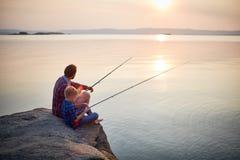钓鱼的镇静夏天晚上 库存图片