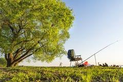钓鱼竿和钓鱼椅子在湖或河美丽的岸的大绿色树下在温暖的夏天晚上 夏天渔 库存照片