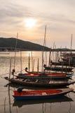 钓鱼老海运的小船 免版税库存照片