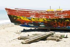 钓鱼老西班牙语的小船 库存图片