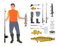 钓鱼者和钓鱼工具和衣物例证 库存例证