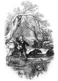钓鱼者用假蝇钓鱼 免版税图库摄影