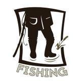 钓鱼者的腿 皇族释放例证