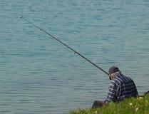 钓鱼者领退休金者 库存照片