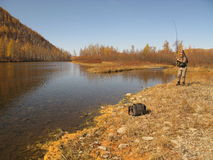 钓鱼自由愉快的时间野生性 免版税库存照片