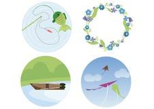 钓鱼花小船风筝乱画颜色平的夏天的花圈印刷品做 库存例证