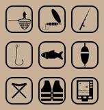 钓鱼被设置的简单的象 库存图片
