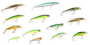 钓鱼诱剂塑料集 免版税图库摄影