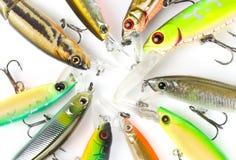 钓鱼诱剂宏观塑料射击 库存图片