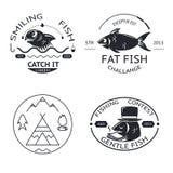 钓鱼象征标签元素被设置的商标象 免版税图库摄影