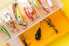 钓鱼钩和诱饵在一个集合抓的另外鱼 免版税库存图片
