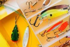 钓鱼钩和诱饵在一个集合抓的另外鱼 库存照片