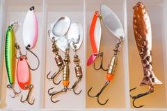 钓鱼钩和诱饵在一个集合抓的另外鱼 免版税图库摄影