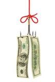 钓鱼钩和货币 免版税库存图片