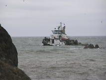 钓鱼风大浪急的海面 免版税图库摄影
