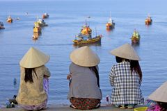 钓鱼风景越南 免版税库存图片