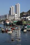 钓鱼香港的小船 免版税库存图片