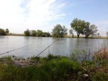 钓鱼鲤鱼的湖河钓鱼旅游业 免版税库存图片