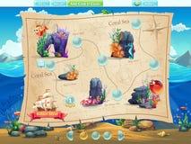 钓鱼水平的选择的世界例子计算机游戏的 向量例证