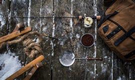 钓鱼#5的葡萄酒冰 免版税库存图片