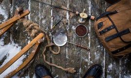钓鱼#6的葡萄酒冰 库存图片