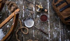 钓鱼#7的葡萄酒冰 库存照片