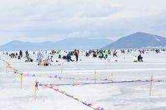 钓鱼2012年的贝加尔湖 库存图片