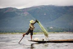 钓鱼-缅甸 免版税库存照片