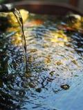 钓鱼从顶视图的碗与从落表面上的被过滤的水的波纹 库存图片