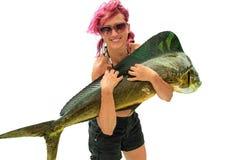 钓鱼Dorado的妇女 免版税库存照片