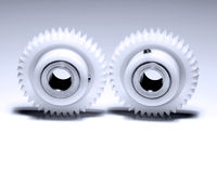 钝齿轮二白色 免版税图库摄影