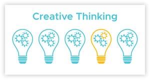 钝齿轮电灯泡创造性思为概念 向量例证