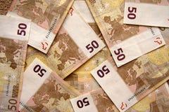 钞票兑现欧元五十 库存图片