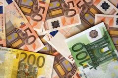 钞票兑现欧元 免版税图库摄影