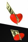 钞票削减的心脏 库存照片