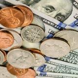 钞票和硬币美国 背景更改颜色容易的财务ps 保存mo的概念 库存图片