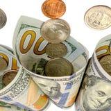 钞票和硬币美国 背景更改颜色容易的财务ps 查出在白色 C 免版税库存图片