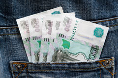 钞票在牛仔裤的口袋 免版税图库摄影